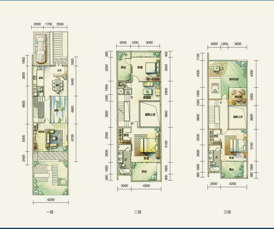 图为CC联排别墅户型图-一线海景别墅鲁能海蓝椰风高端户型点评