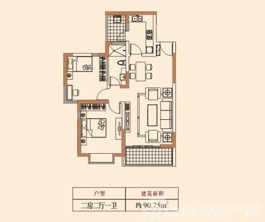 觉城湖憩园这个两居室户型还不错哟 户型图